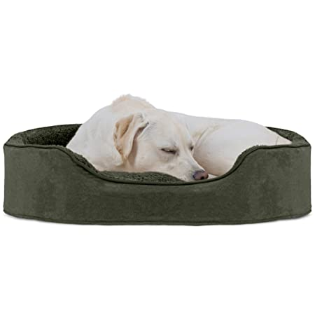 Furhaven Pet Dog Bed Round Oval Cuddler Pet Bed for Dogs Cats – Available in Multiple Colors Styles