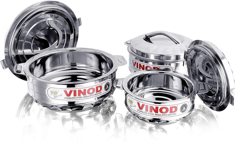 Vinod 3-Piece Insulated Casserole Food Warmer/Cooler Hot Pot Gift Set, 1000mL+1500mL+2500mL, Stainless Steel