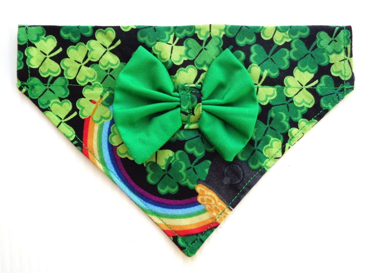 All In One Bandana and Bow 3 Leaf Clover Print Over the collar thread-thru Dog Bandana Green Bow, St Patrick's Day Accessories, Petwear Fashion Neckwear