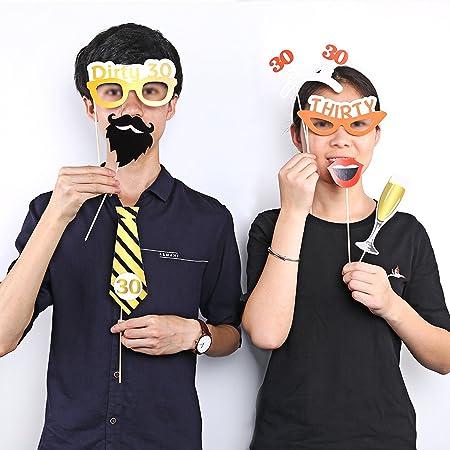 Konsait 52 PCS 30th cumpleaños Photo Booth Atrezzo, DIY Photo Booth Props Kit Cabina de Fotos Accesorios con Stick, 30th cumpleaños Decoraciones ...