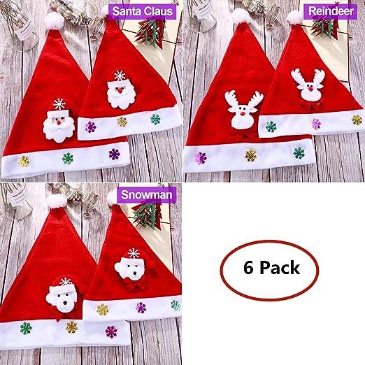 Sombrero de Navidad LED,Gorro de Santa 6 Pack Luz Sombrero de ...