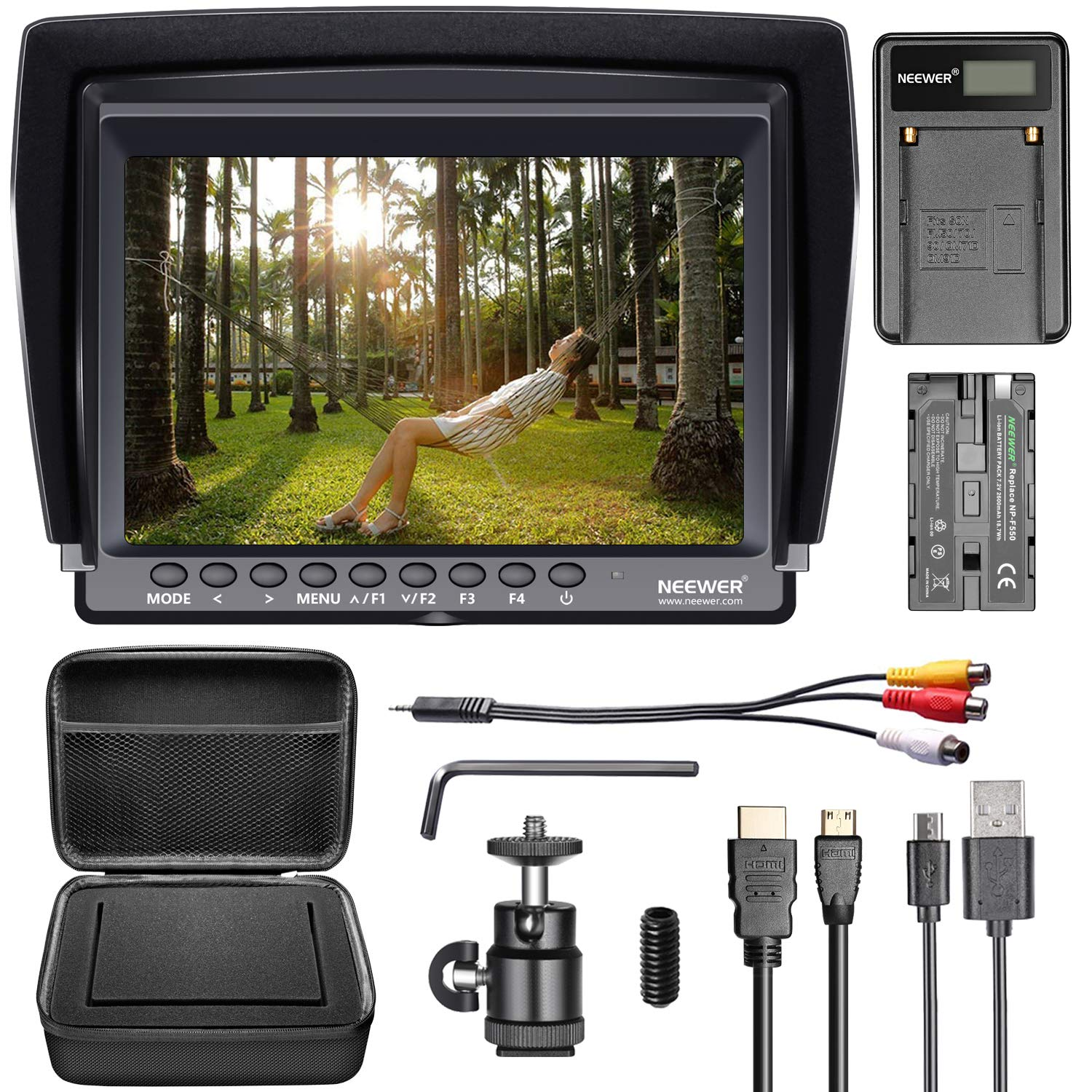 Neewer F100 Camera Field Monitor Kit:7 inches Ultra HD 1280x800 IPS Screen Field Monitor+F550 Replacement Battery+Micro USB Battery Charger+Carrying Case for Sony Canon Nikon Olympus Pentax Panasonic by Neewer