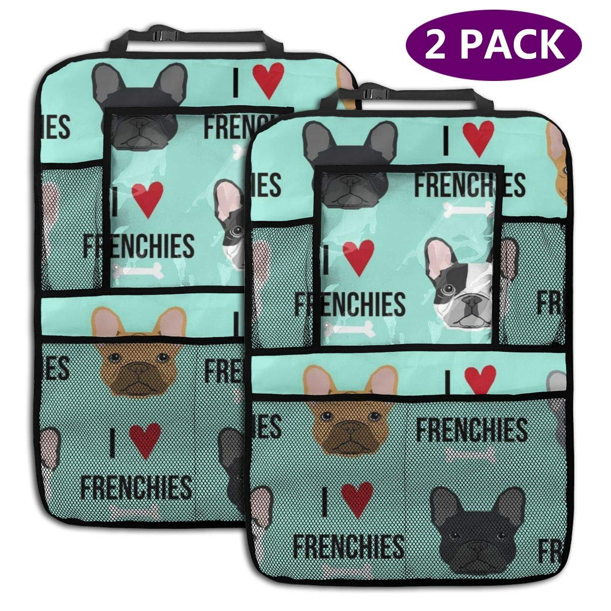 QF6FEICHAN I Love Frenchies Dog Car Seat Back Protectors with Storage Pockets Kick Mats Accessories for Kids and Toddlers by QF6FEICHAN