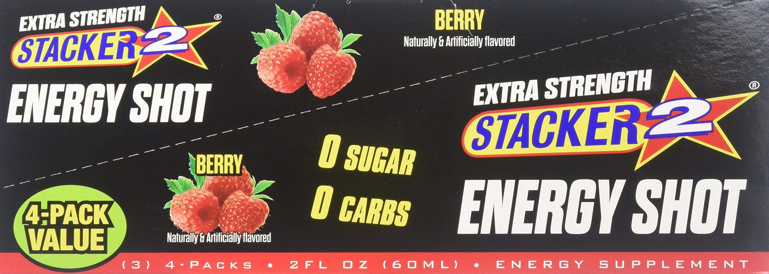 Stacker 2 Extra Strength Energy Shots, Berry, 12 Pack (4)