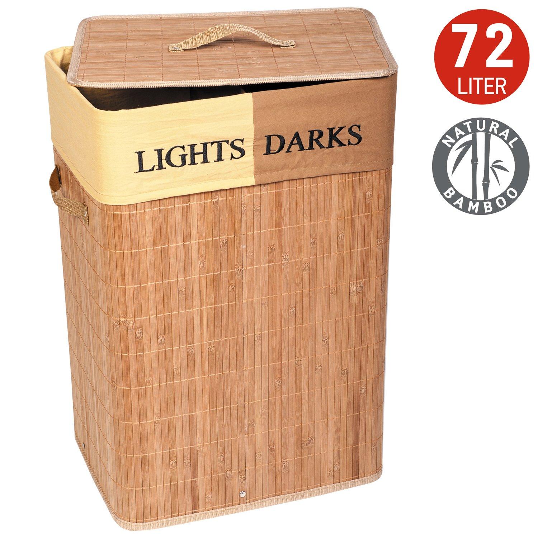 Tatkraft Dakota Large Bamboo Laundry Basket with 2 Compartments Textile Bag 72L