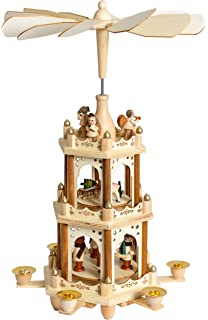 brubaker christmas decoration pyramid 18 inches wood nativity play 3 tier carousel with 6 candle