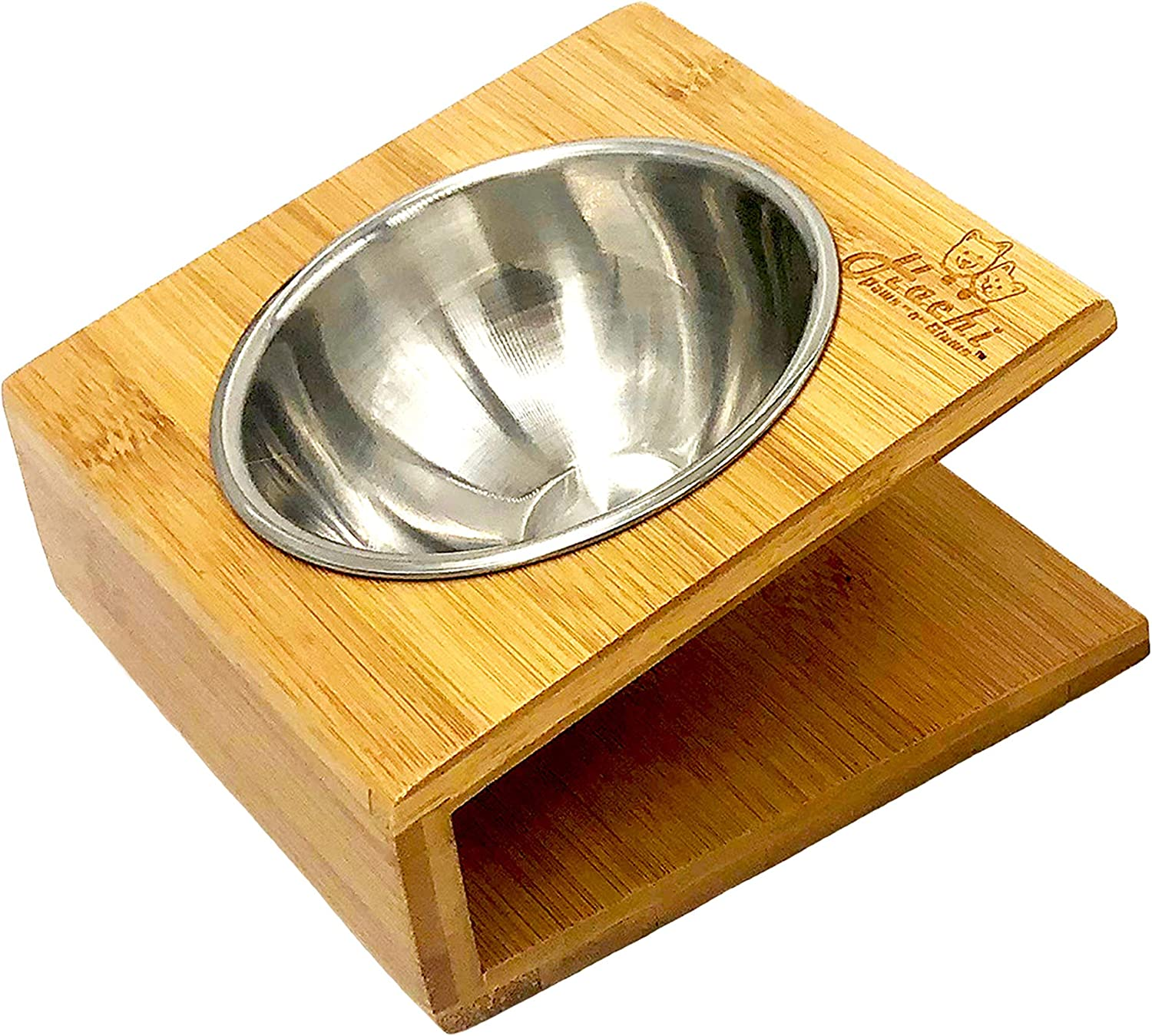 Hachi Paws-n-Claws Raised Slanted Angle Pet Bowl for Cats and Dogs - Bamboo Elevated Dog Cat Food and Water Bowls Stand Feeder with Stainless Steel Bowl and Anti-Slip Feet (XS)