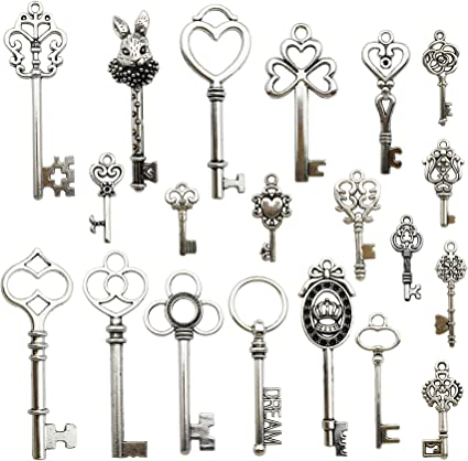 Antique Silver Plated Jewelry Making Charms Crown Skeleton Key Princess Crafting