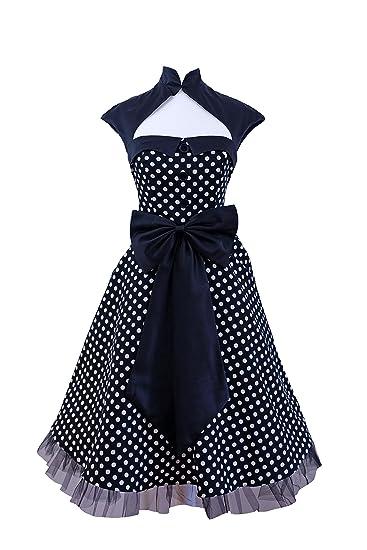 fabrication habile à vendre vente moins chère Milk Moon Robe vintage années 50 60 's Swing Rockabilly Noir Blanc Rouge  Polka Dot Soirée rétro Robe taille 36–52