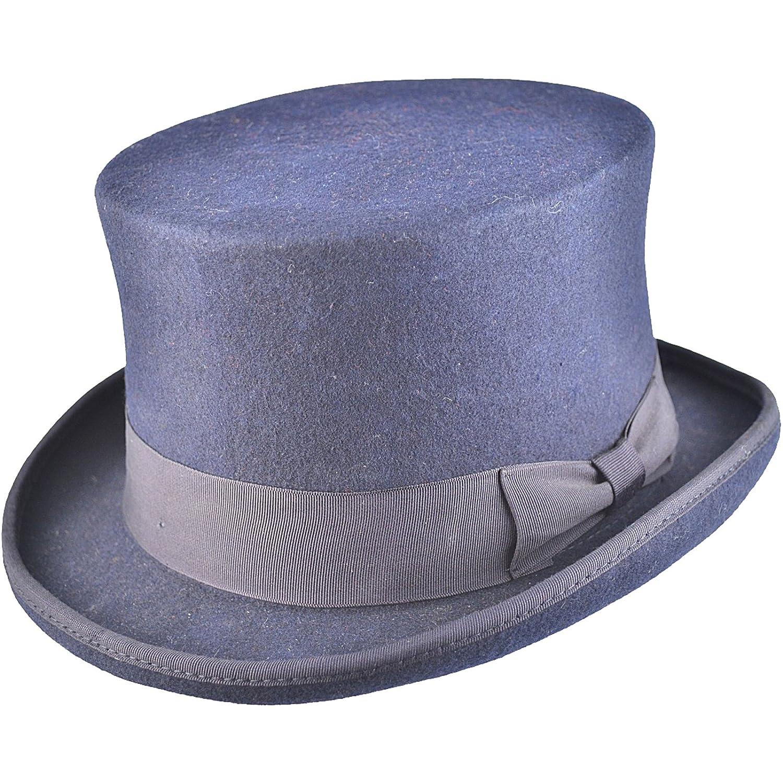 100/% lana inscatolato Navy Large Cappello a cilindro di alta qualit/à rivestito in satin