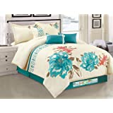 7-Pc Watercolor Floral Blossom Clover Embroidery Comforter Set Teal Blue Beige King
