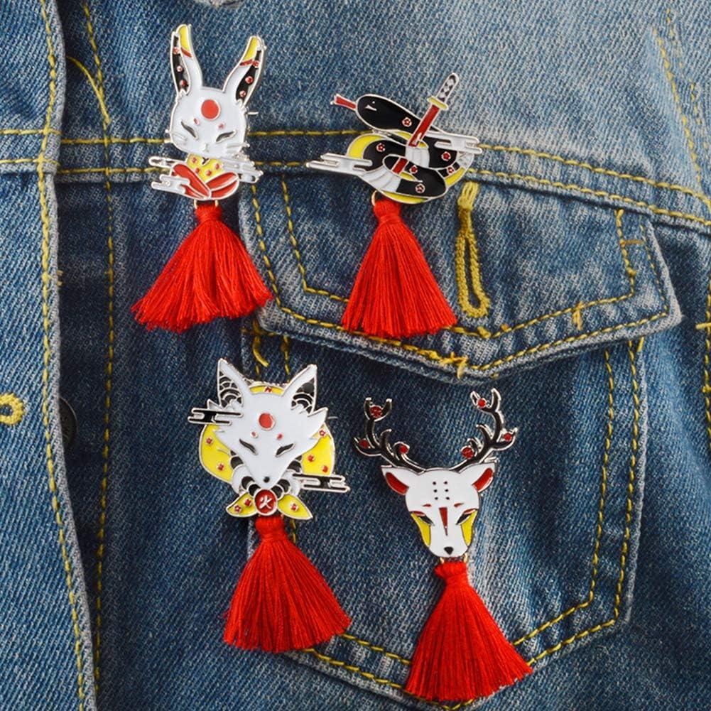 Qinlee Cr/éatif Bijoux Broche Renard Pompon Rouge Epingle en Alliage Brooch de D/écoration Mode /él/égante Gar/çon Fille 3.7 6.4cm