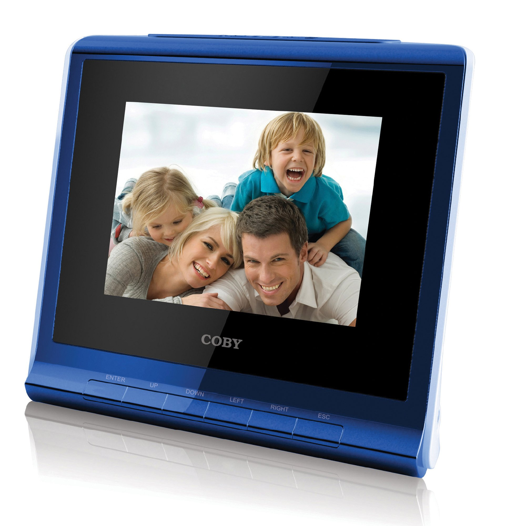 Coby DP356BLU 3.5-Inch Digital Photo Frame with Alarm Clock, Blue by Coby