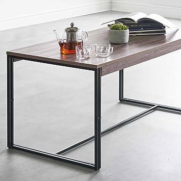 VonHaus Rustic Kaffeetisch – Modernes Industrial Design – Schwarz &  Walnuss-Effekt – Ablagetisch/Couchtisch – Möbel für Wohnzimmer oder ...