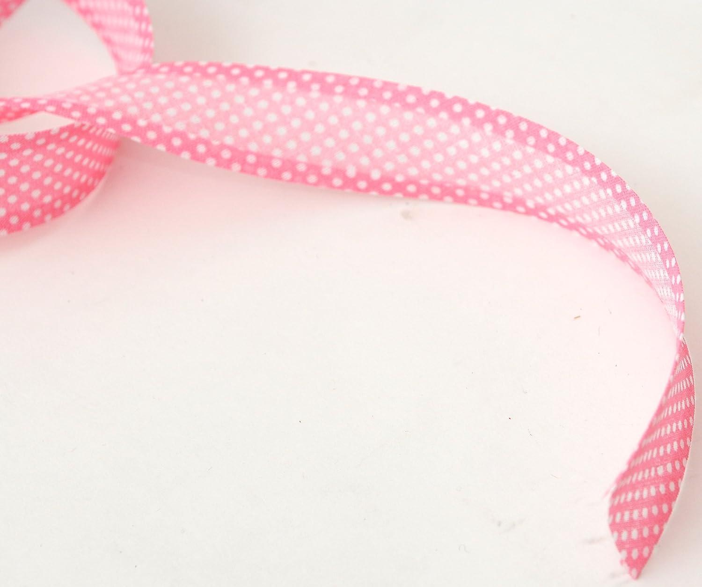 Inastri 25//5// 5 mm Cotton Bias Binding in Pink Polka White 264