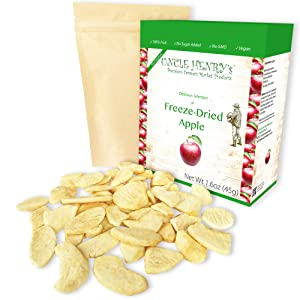 Freeze Dried Apple: Delicious Crispy Fruits 1.6oz (45g) Large Bulk Re-Sealable Bag in a Sturdy Protective Box: Taste Like Fresh Apples, the Ultimate Snack and Breakfast.