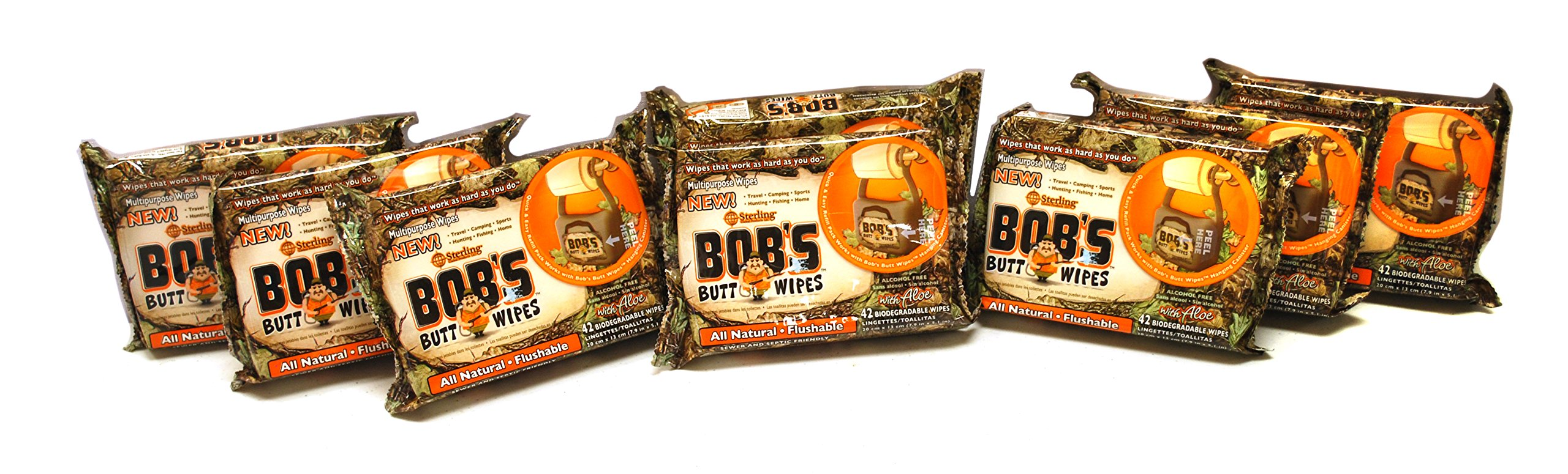 Bob's Butt Wipes 42ct Refill Only, 8 Pack, Rapid-Dispersing Unscented Flushable Personal Hygiene Wipes