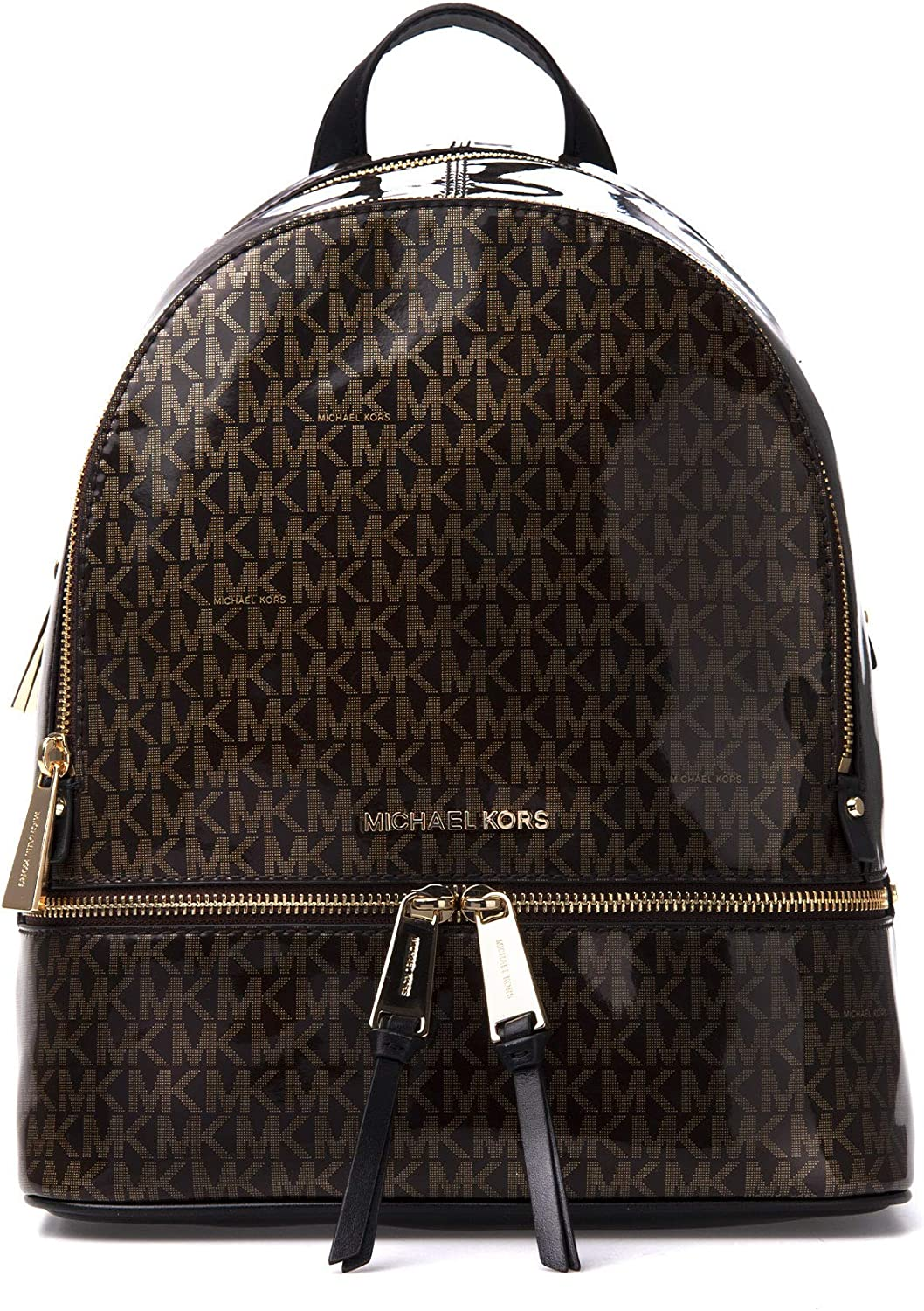 Michael Kors Rhea Medium Leather Backpack (Glossy Brown)