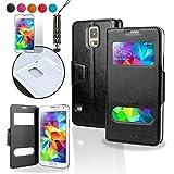 SAVFY à Ultra Slim Coque Galaxy S5 - Etui Case Flip Cover Dual view + FILM D'ECRAN + STYLET OFFERTS! Accessoires 3en1 Housse de Protection Pour Samsung Galaxy S 5 / SV / SGS5 GT-i9600 i9605 SM-G900 (2014) - Noir