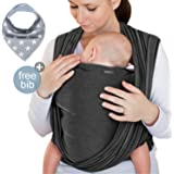 Babytragetuch Dunkelgrau – hochwertiges Baby-Tragetuch für Neugeborene und Babys bis 15 kg – aus schonender Baumwolle – inkl. Aufbewahrungsbeutel und GRATIS Baby-Lätzchen – liebevolles Design von Makimaja®
