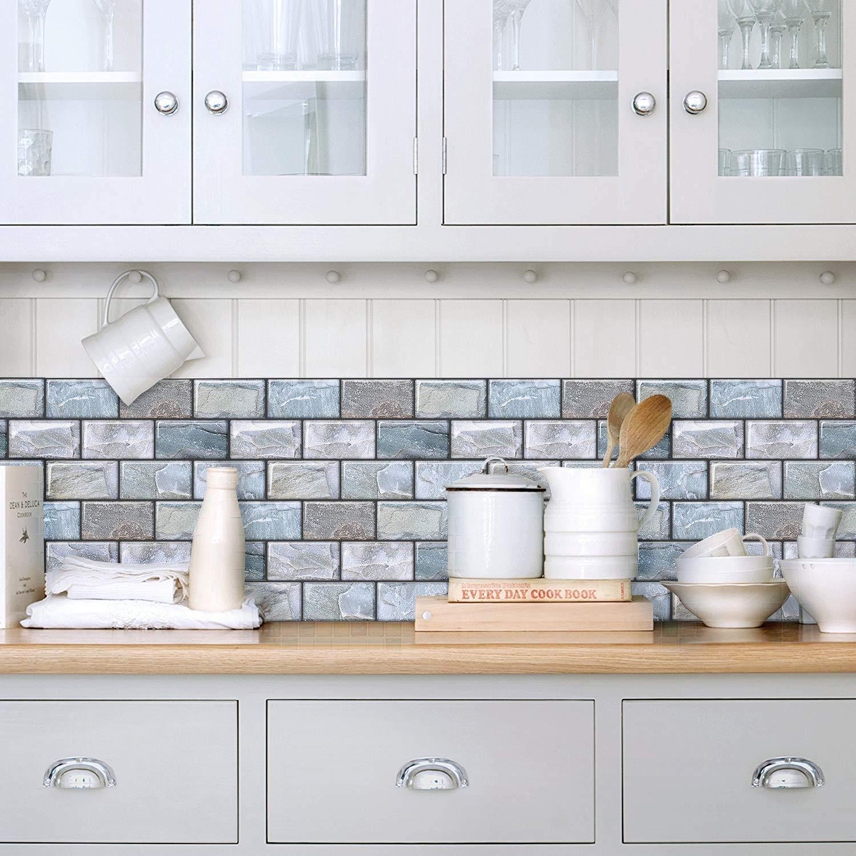 Peel And Stick On Tiles Backsplash Self Adhesive Kitchen Tile Wall Sticker Blue Decorative Wall Panels 3d Brick Tiles Yoillione 3d Mosaic Tile Stickers Bathroom Wall Tiles Stone Effect Wallpaper Tile Stickers