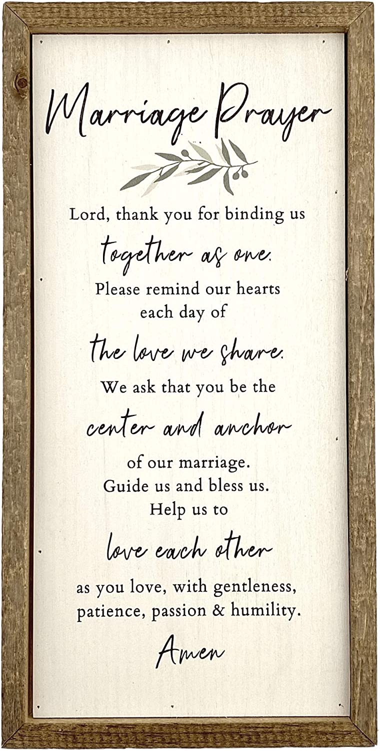 Kingdom Quality Marriage Prayer Wall Decor - Classy Wedding Gift or Marriage Gifts, for Couple - Ideal Bridal Shower Gift - Shelf or Wall Art, Marriage Wall Decor