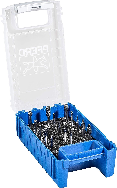 f/ür universelle Anwendungen auf den wichtigsten industriell verwendeten Werkstoffen Zahnung 3 PLUS PFERD 1503 Z3 HM-Fr/ässtift-Set Schaft-/ø 3 mm 21901505 15-teilig