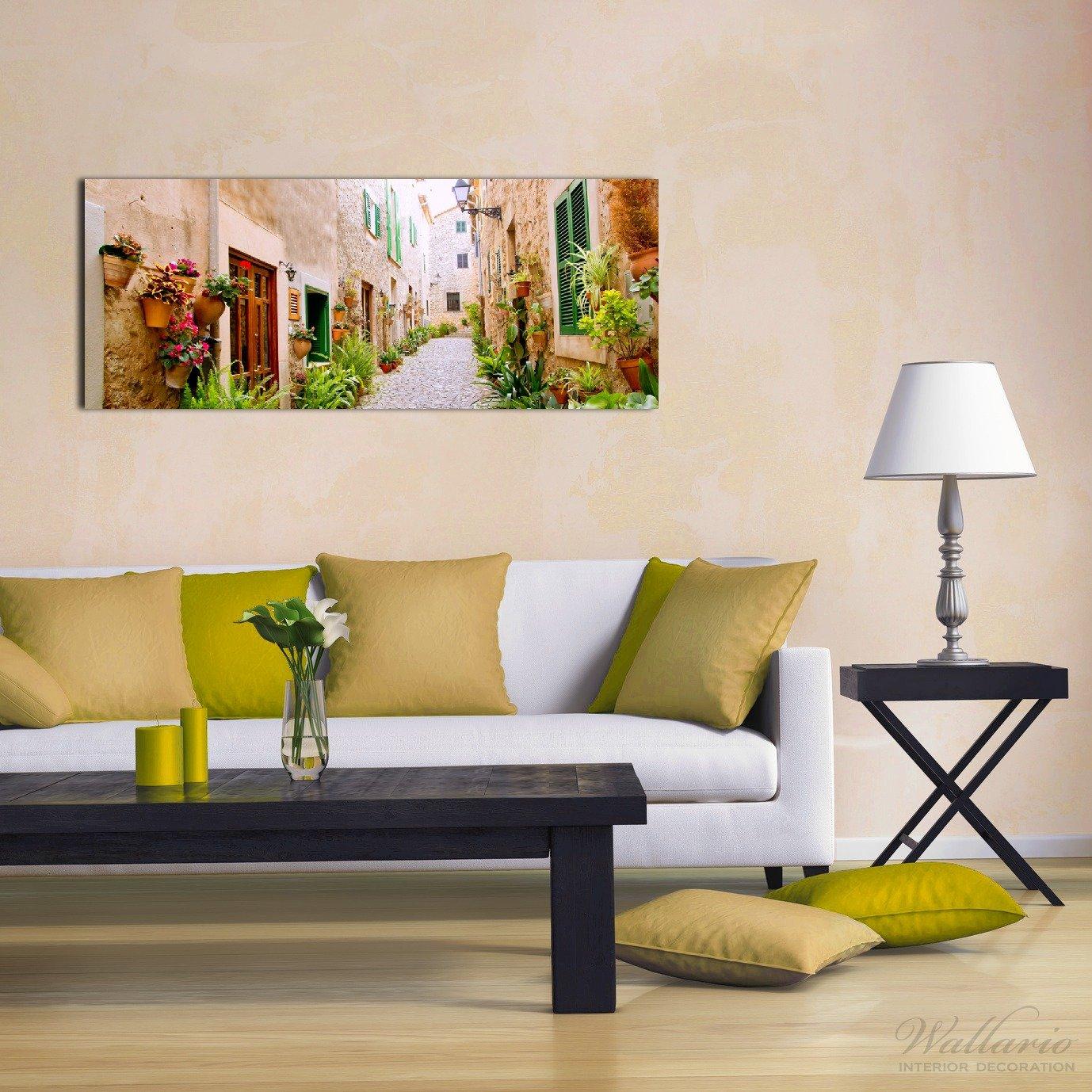 Wallario Wallario Wallario Wand-Bild 70 x 100 cm   Motiv  Südländische Gasse mit alten Häusern und grüner Oase   Direktdruck auf 5mm starke Hartschaumplatte   leichtes Material   günstig d62845