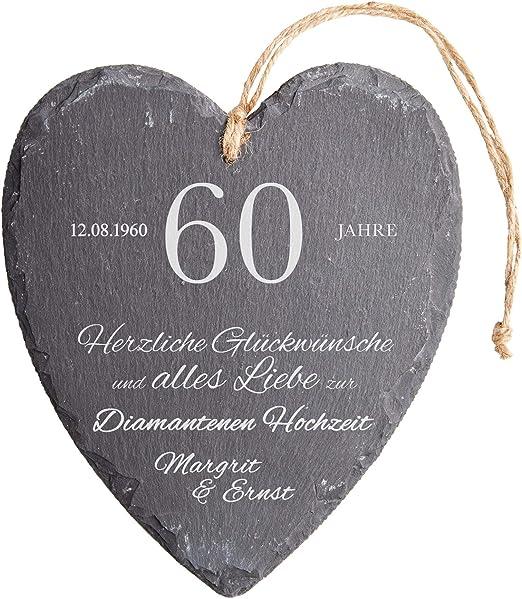 Casa Vivente Schieferherz Mit Gravur Zur Diamantenen Hochzeit