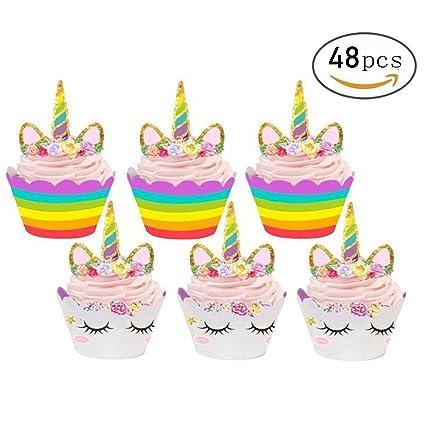 48 piezas de decoración de cupcakes de unicornio y ...