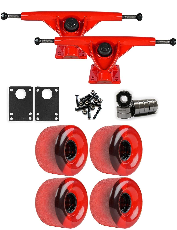 RKPレッドLongboard Trucksホイールパッケージ65 mm x 44 mm 83 a 485 Cレッドクリア   B01IJ9E0RW