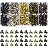 150 Sets Round Flat Head Chicago Screws Buttons Metal Studs Rivets Screwback Spots Metal Nail Rivet Studs for Leather…