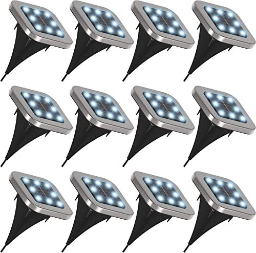 Sunco Lighting 12 Pack Solar Pathway Lights, Dusk-to-Dawn, Square, 7000K Diamond White, Cross Spike Stake for Easy in Ground Install, Solar Powered LED Landscape Lighting, Weatherproof