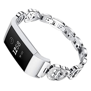 HEYSTOP for Fitbit Charge 3 Bands Replacement with Bling Rhinestones Metal  Stainless Steel Bracelet for Fitbit Charge 3 Bands(Silver)