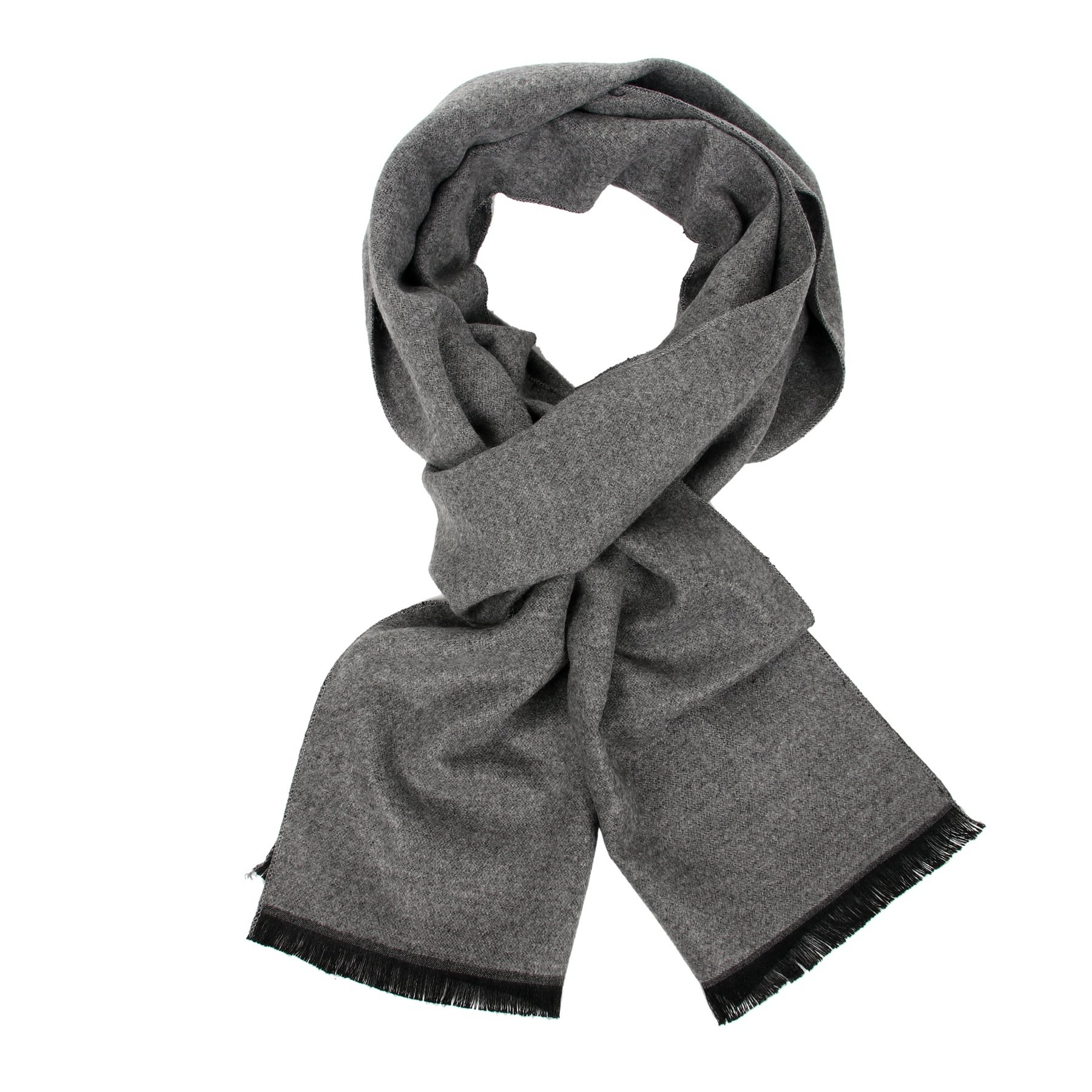 Long Cotton Scarf for Men - Warm Fringe Plaid Scarves With Luxurious Gift Box(Hether grey)