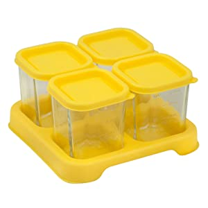 Green Sprouts Reusable Baby Food Glass Containers Freezer Cubes (4oz/4pk)-Yellow