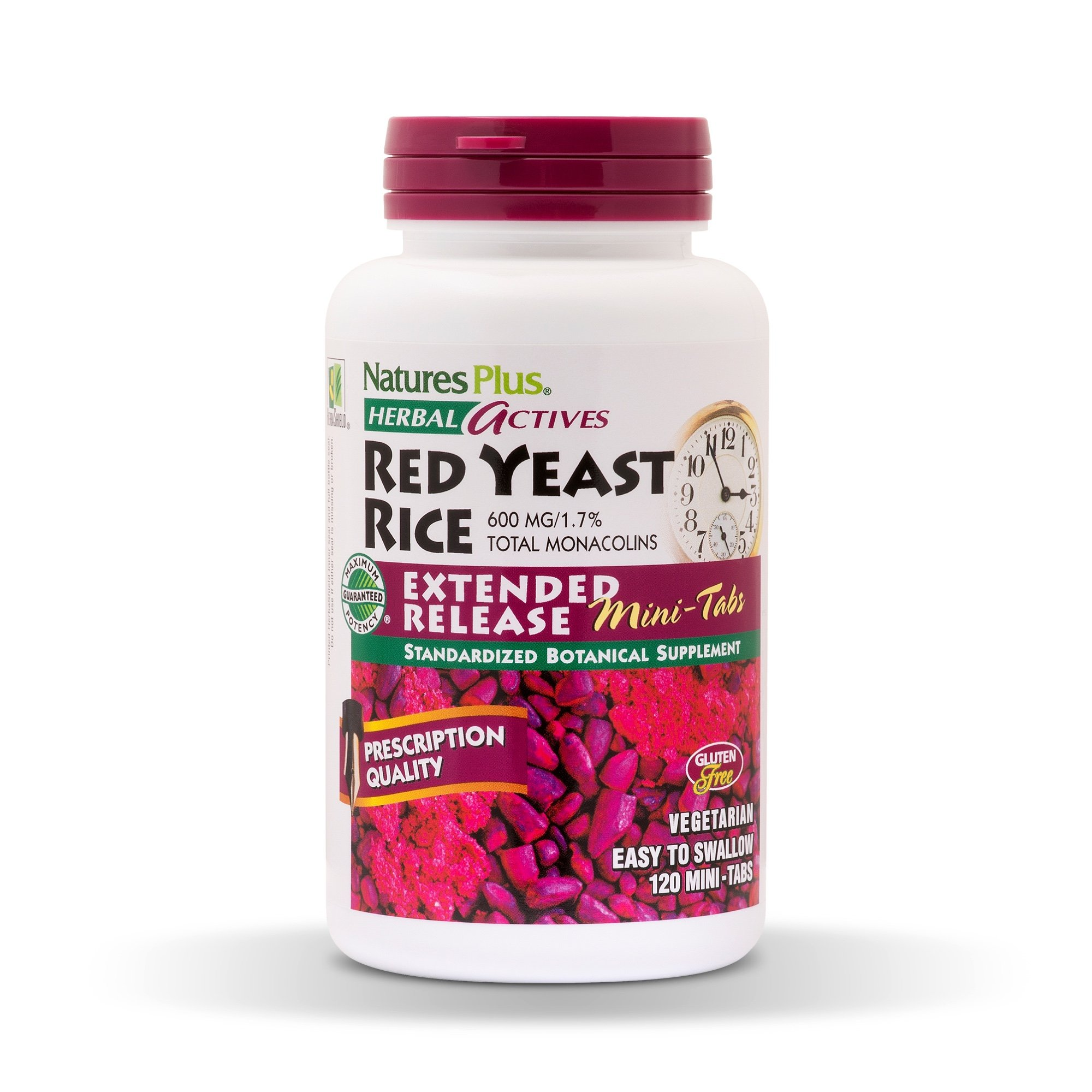 Natures Plus Herbal Actives Red Yeast Rice (2 Pack) - 600mg, 1.7% Monacolins - 120 Mini Tablets, Extended Release - Cholesterol Support - Vegan, Vegetarian, Gluten Free - 60 Servings