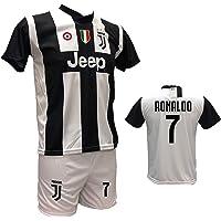 Completo Maglia Juventus bianconera Cristiano Ronaldo 7 + Pantaloncino Bianco Personalizzabile con Numero 7 Replica autorizzata 2018-2019 Taglie da Bambino e Adulto