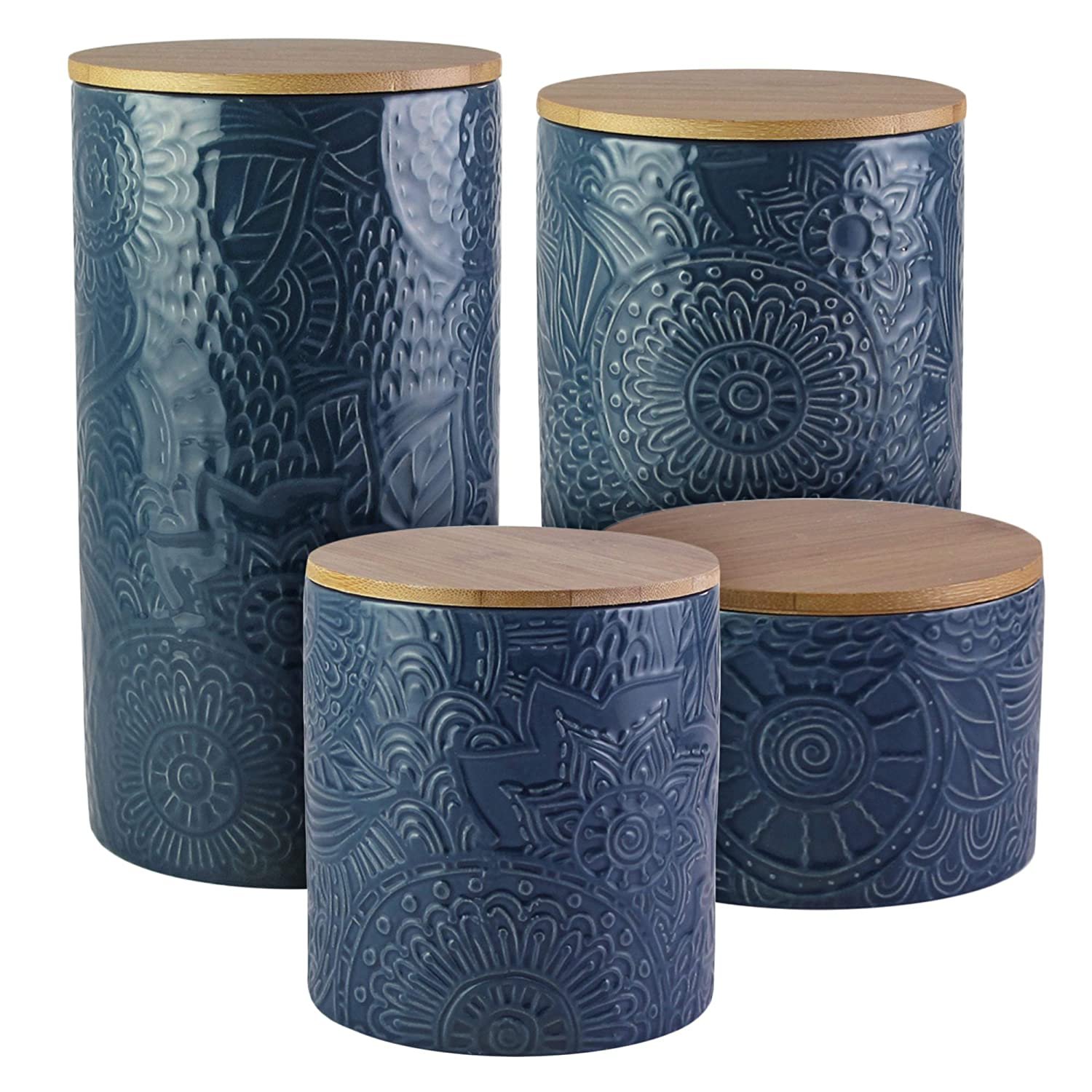 American Atelier Embossed 4 Piece Ceramic Canisters Set with Lids Blue