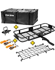 amazon cargo management exterior accessories automotive 1989 Dodge D50 4x4 mockins hitch mount cargo carrier with cargo bag and net the steel cargo basket is