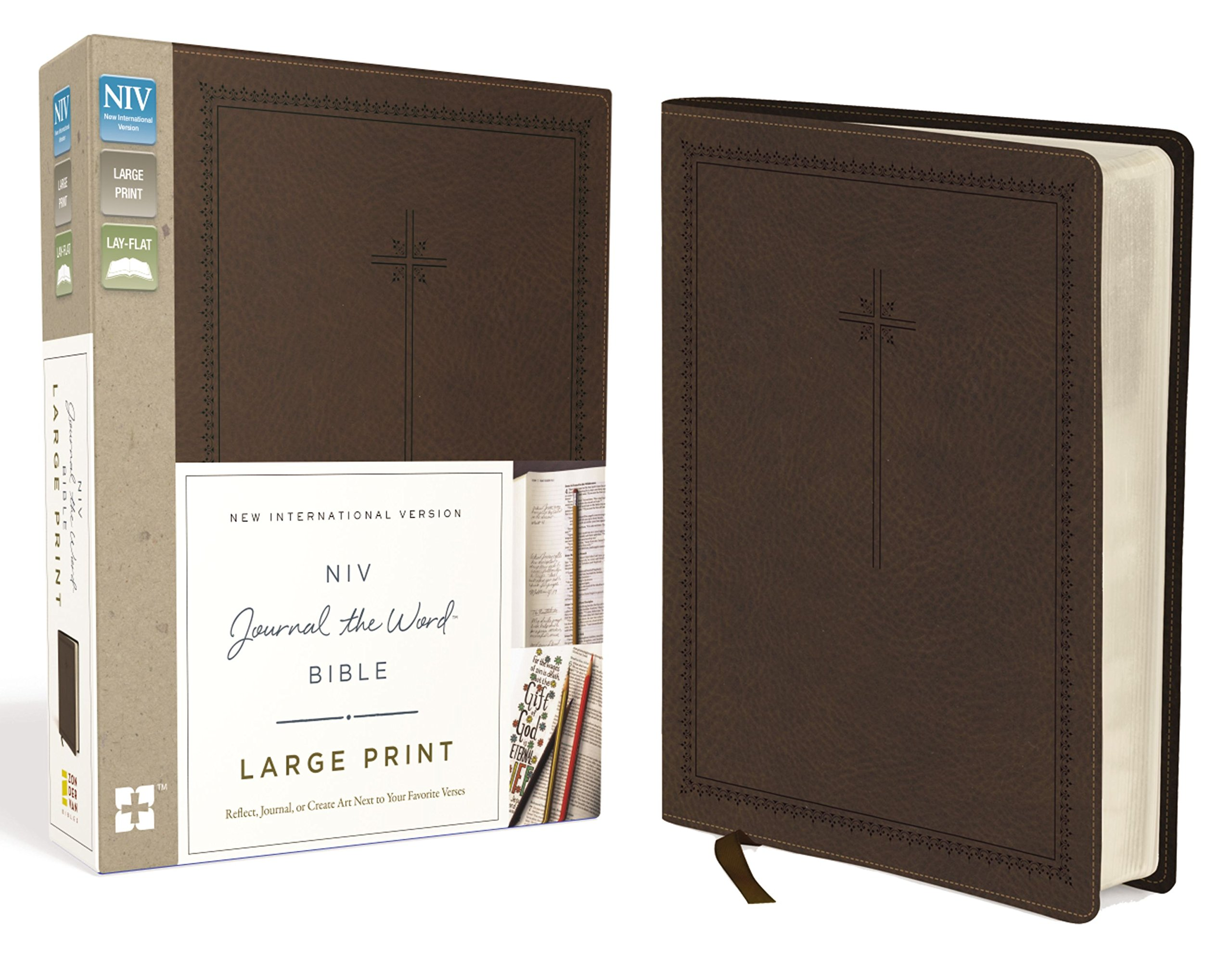 NIV, Journal the Word Bible, Large Print, Leathersoft, Brown: Reflect, Journal, or Create Art Next to Your Favorite Verses