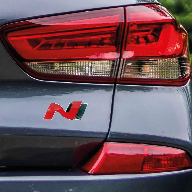 P048 Heck Emblem Cover N Performance Kofferraumdeckel 2er Set Aufkleber 3m 2080 Car Wrapping Folie Car Styling Dekorset V1 Rot Carbon Schwarz Auto