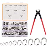 CO-Z 120pc Single Ear Hose Clamps Assortment w Pincers, Stepless One Ear Pipe Clamps w 10 Sizes 6-28.6mm (1/4 to 1-1/8…