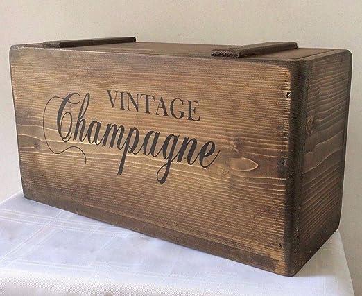 CELYCASY - Caja de Almacenamiento rústica de Madera Maciza de champán Vintage Hecha a Mano: Amazon.es: Hogar
