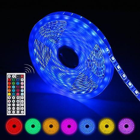 AGPTEK Tiras Led RGB 5 Metros 300 Leds 5050 SMD IP65 Impermeable con Control Remoto de