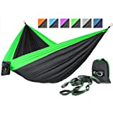 Live Infinitely Double Outdoor Camping Hammock Set- Lightweight, Compact & Portable Two Person Parachute Nylon Hammock Set- 2-16 Loop Tree Straps - Holds 500LBS-Ideal for Travel, Hiking & Beach