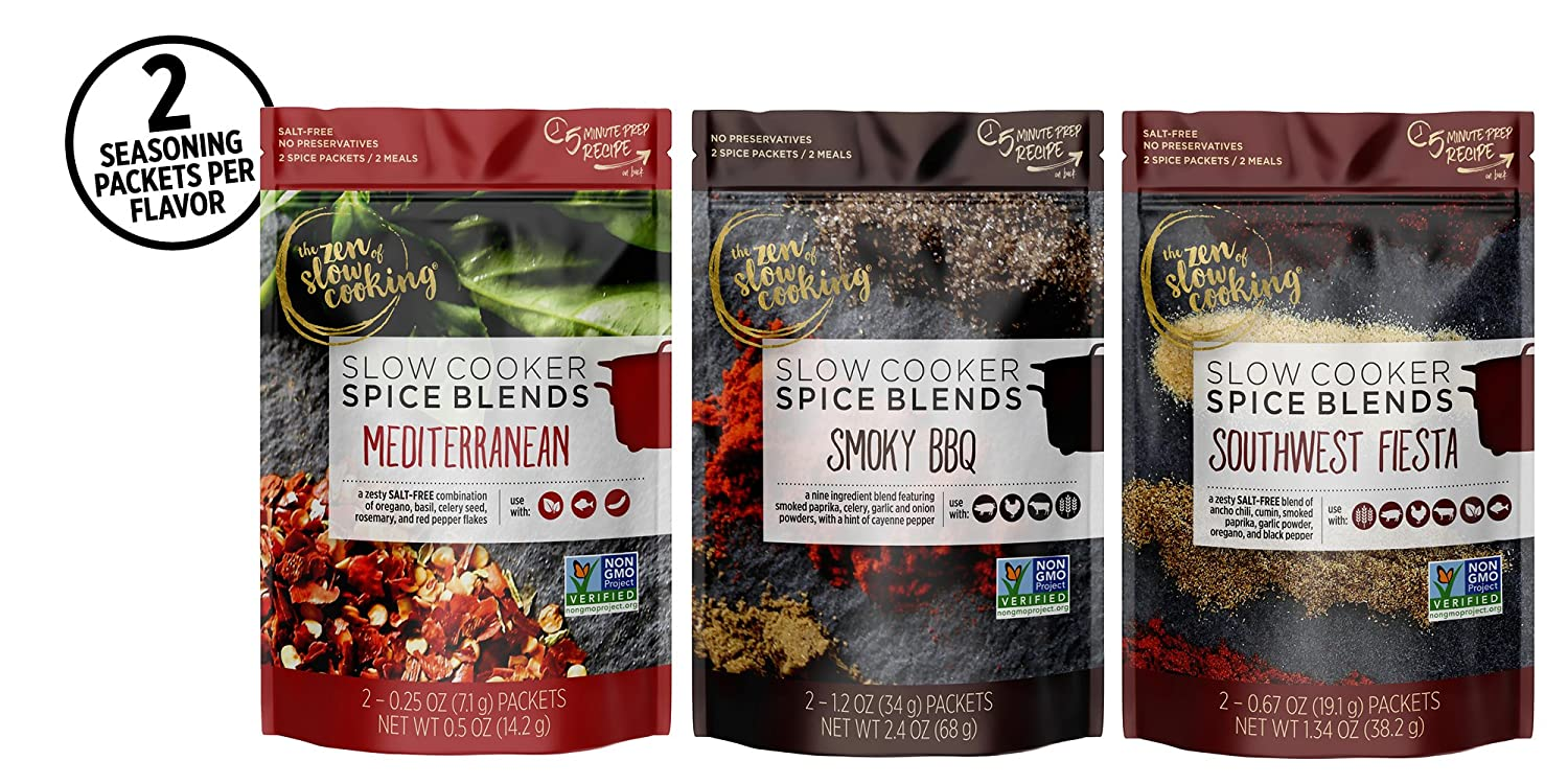 the zen of slow cooking Family Favorites Spice Blend Collection, Set of 6 Seasoning Packets for Crockpot, Instant Pot, and Multi-cookers