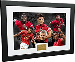 12x8 A4 Signed Solskjaer Rashford Martial Pogba Maguire Lingard Manchester United Autographed Photo Photograph Picture Frame Football Soccer Poster Gift