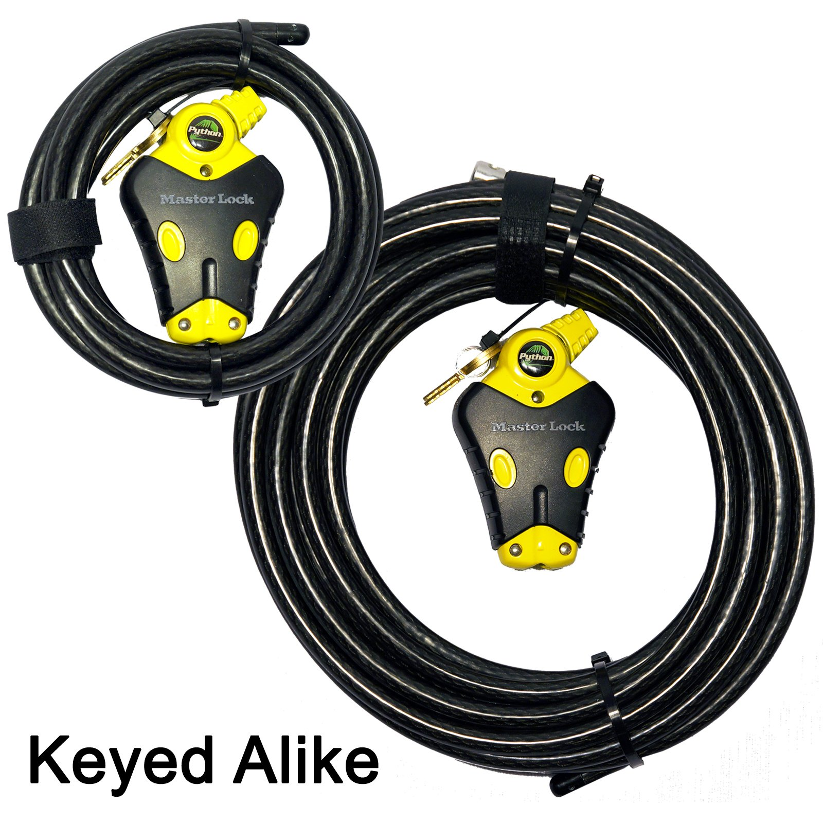 Master Lock - Two Python Adjustable Cable Locks Keyed Alike, 1-6ft, 1-30ft, #8413KACBL-6-30