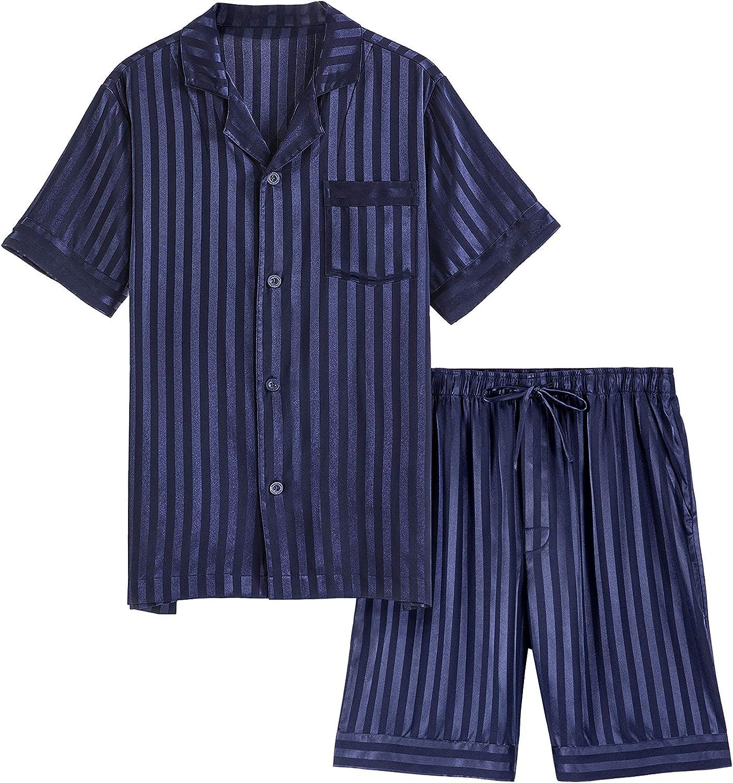 DAVID ARCHY Men's Satin Silky Sleepwear Pajamas Set Button-Down Long and Short Sleeve Loungewear